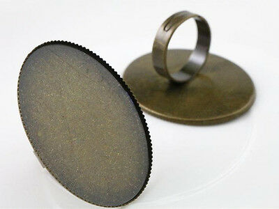 5pcs Bronze Large Oval Adjustable Ring Blank/Base | Fit 30x40mm Cabochons