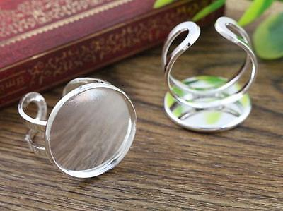 5pcs Silver Plated Adjustable Ring Blank/Base | Fit 20mm Cabochons