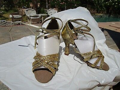 "Very Fine ballroom Latin dance shoes gold glitter sparkle size 6  3"" heel straps"