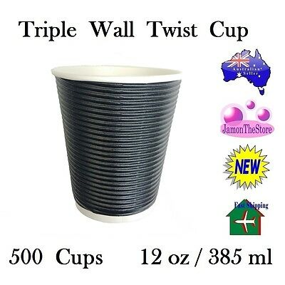 Triple Wall Twist Paper Cup 12oz 385ml Coffee Tea 500 Cup Black Hot & Cold Drink
