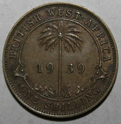 British West Africa One Shilling Coin, 1939 - KM# 23 - King George VI - 1 - UK