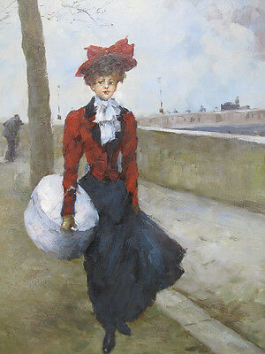 Original French Impressionist Oil on Canvas Victorian Lady in Red Painting yqz