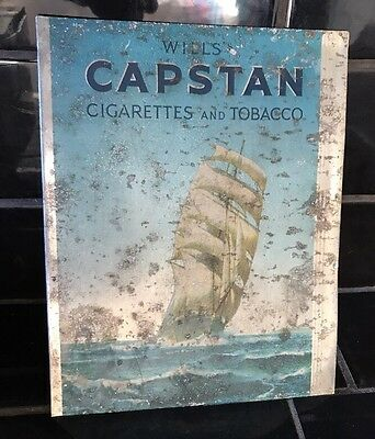 WILL'S CAPSTAN TOBACCO Vintage Cigarettes Screen Printed Tin Shop Display Sign