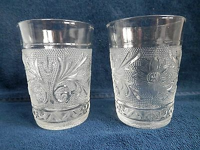 2 Vintage Anchor Hocking Crystal Sandwich Glass 9oz. Water Tumblers
