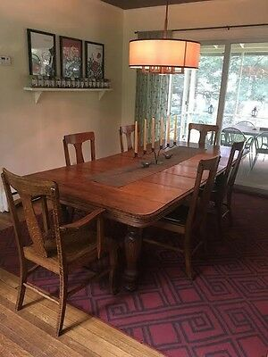 Antique Oak Dining Room Table And Chairs 1 Captain Chair And 5