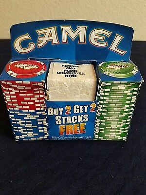 50 Camel Las Vegas Collectable Poker Chips Green Blue Red Collectors Set NIB