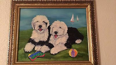 Old English Sheepdog puppy painting by Delra