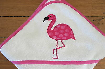Handmade hooded baby towel with hot pink flamingo applique