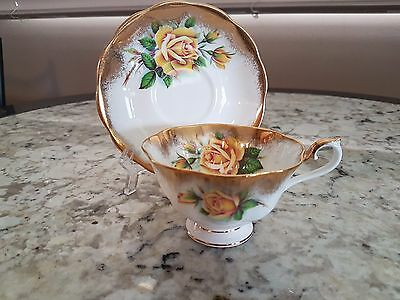 Royal Albert Large Yellow Rose Footed Cup Saucer Very Heavy Gilt Artist Signed