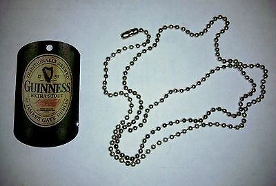 GUINNESS EXTRA STOUT BEER DOG TAG NECKLACE with CHAIN