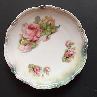 """Antique P.K. SILESIA 8"""" Plate with Pink Roses Flowers Decorative Plate Scallops"""