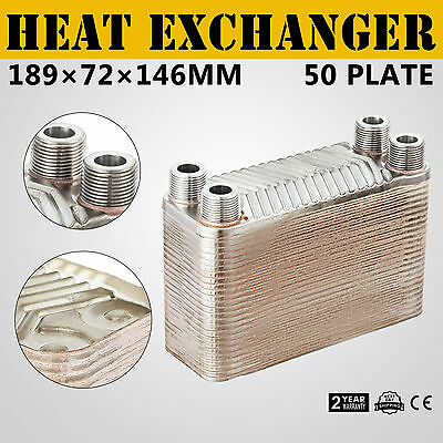 "50 Plate Water to Water Brazed Plate Heat Exchanger HVAC Parts Boiler 3/4""male"