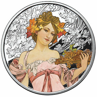 Alphonse Mucha 1 0z .999 silver coin Colorized Champagne White Star Art series