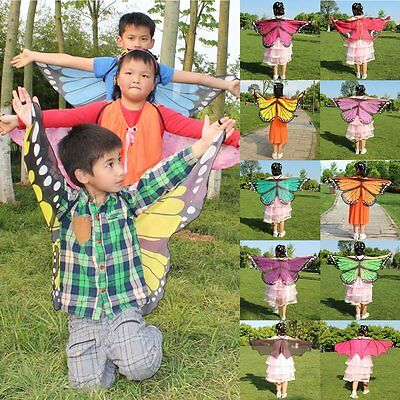 Butterfly Wings Fancy Dress Cover Up Kids Girls Boys Cloak Scarf Shawl Cape Wrap