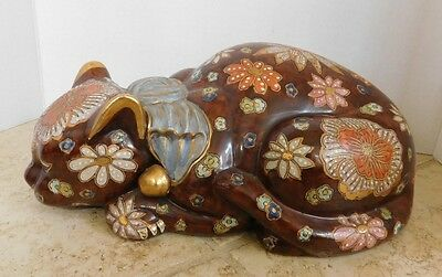 """LARGE ANTIQUE JAPANESE PORCELAIN SLEEPING CAT Hand Painted Floral Signed 12.5"""" ~"""