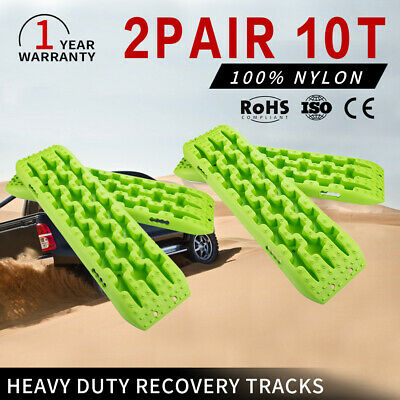 10T Heavy Duty Recovery Tracks Off Road 4x4 4WD Sand Snow Mud Tough GREEN 2Pairs
