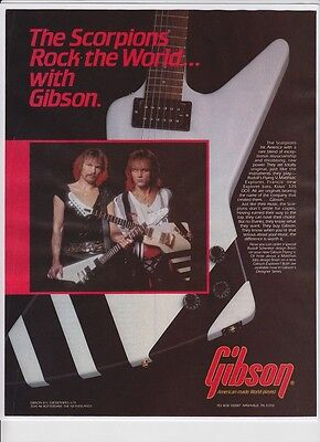 1985 The Scorpions Gibson Explorer Flying V Guitar Original Magazine Print Ad