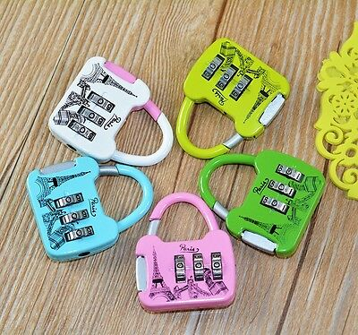 Travel Luggage Padlock Mini 3 Digit Combination Suitcase Security Cable Lock JF