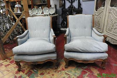 Pair Of Ancient Chairs Armchairs Walnut Bergere Period Early 900