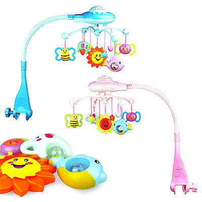 New Baby Cartoon Crib Mobile Bed Bell Toy Music Bracket Wind-up Light Holder Box