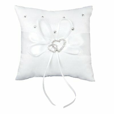SS Wedding Ring Pillow 15 x 15 cm White Double Heart Crystal Rhinestone