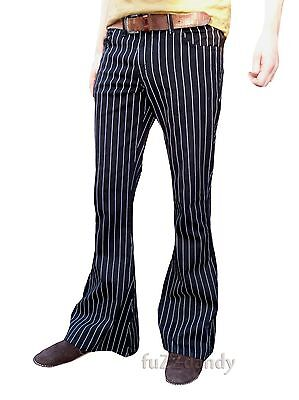 PinStripe Black White Flares Stripes Mens Bell Bottoms Hippie vtg indie Trousers
