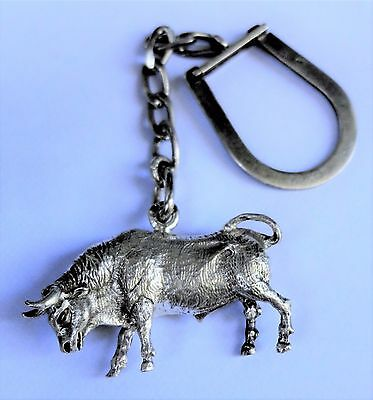 Vintage  Hallmarked Solid Sterling Silver Keyring with Bull Fob / Key Chain
