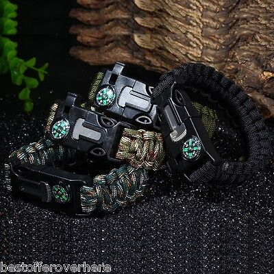 5in1 Outdoor Survival Gear Paracord Bracelet With Flint Whistle Compass Scraper