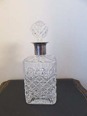 """Square Hobnail Clear Glass  Decanter With Silver Collar 10"""" Tall"""