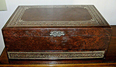 ANTIQUE WORK SEWING BOX inlaid BUNCH of FLOWERS • £28.77 ...