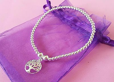 sterling silver bead bracelet stacking 925 elasticated various charms available