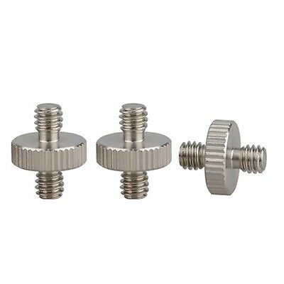 """3Pcs 1/4-20"""" Double Male Screw Adapter For Tripod Camera Flash Bracket Stand h2"""