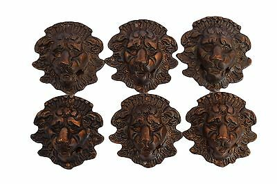 6 French Antique Bronze Lion Pediment Furniture Decoration Hardware Handle