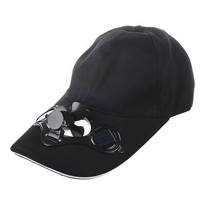 SS Solar Sun Power Hat Cap Cooling Cool Fan - Black