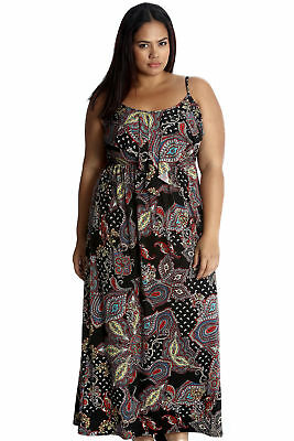 New Womens Plus Size Dress Maxi Ladies Paisley Floral Print Tank Top Frill Style
