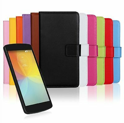 Genuine Leather Wallet Case Protector For LG Optimus F60 MS395 D390 D392 D390N