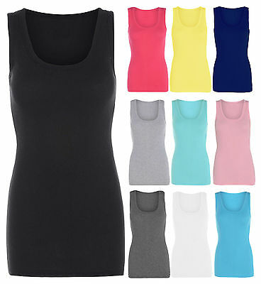 New Ladies Women's Plain Stretchy Ribbed Vest Top T Shirt Rib Strap Sizes 8-26