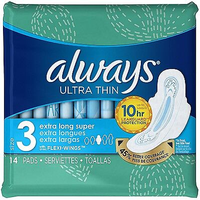 Always Size 3 Extra Long Super Absorbency with Wings Ultra Thin Pads 14 ea (4pk)