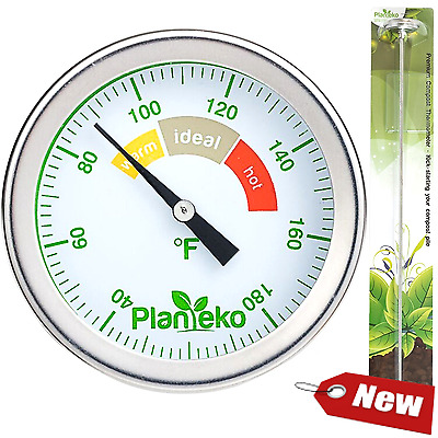 Compost Thermometer - Premium Stainless Steel Soil Thermometer Extra Thick Probe