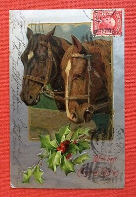 CPA. 1907. CHEVAUX. Gaufrée. With best Christmas Wishes. Noël. Argentée.