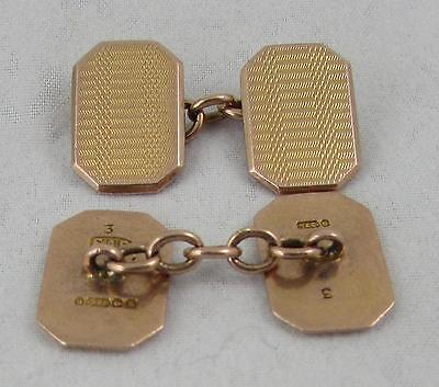 Art Deco 9ct Rose Gold Cufflinks BIRMINGHAM 1920s 8.8 grams