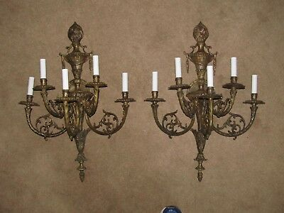 "Architectural & Garden 2 15Lb Antique Sconces Collectibles Sconces Bronze 27""l"