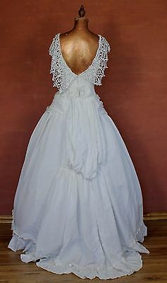 Vintage 80s Wedding Belle Evening Dress Gown Victorian Edwardian Ball Theater S