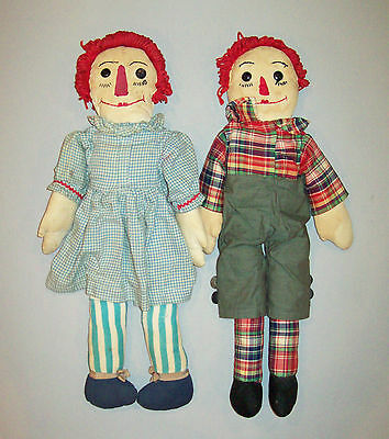 Antique vtg 1930s Pair of Cloth Raggedy Ann and Andy Dolls Folk Art Voland style