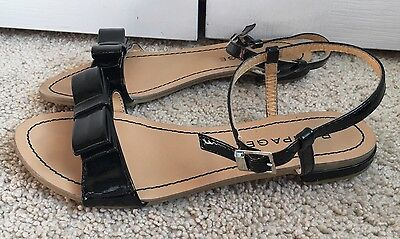 Women's Rampage Black Sandals Shoes With Bow Ankle Strap Size 6 Casual