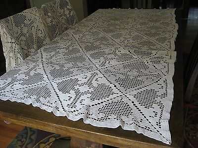 """Queen Sz Lg Vintage crochet bed cover coverlet White Hearts & Crosses 85""""X73"""""""