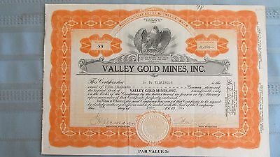 Reno Nevada Valley Gold Mines Stock Certificate-Issued 1936-Uncancelled