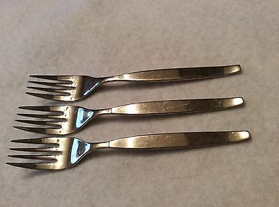 """Oneida Community Frostfire Pattern (3) Stainless Salad Forks 6 1/2"""" Long Nice"""