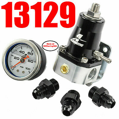 Aeromotive 13129 EFI Bypass Regulator UP TO 1000 HP combo Gauge & Fittings look