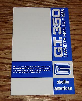 1966 Ford Shelby Cobra GT 350 Owners Operators Manual 66